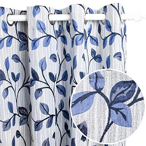 Viste tu hogar Pack 2 Cortina Decorativa Opaca con Ojales, Estilo Simple y Elegante, para Salón, Habitación y Dormitorio, 2 Piezas, 150X260 CM, Azul