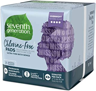 Seventh Generation Ultrathin Pads, Overnight with wings, Free & Clear, 14 count