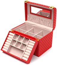 Jewellery Organiser Leather Necklace Earrings Ring Cosmetic Jewelry Organizer Storage Box for Girls and Women (Color : Re...