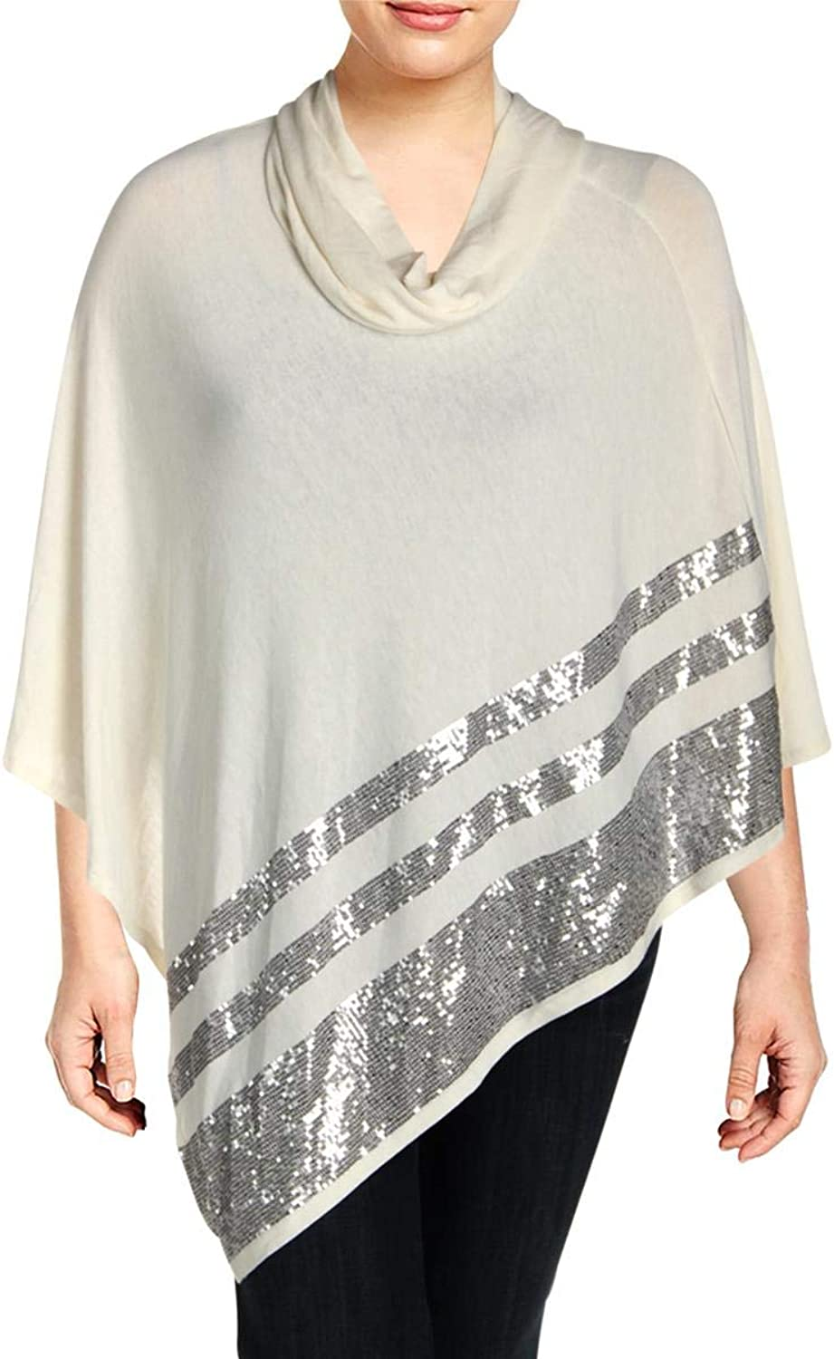 Belldini Womens Plus Sequined Cowl Neck Poncho Sweater