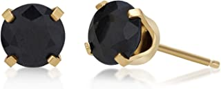 Round 5MM Gemstone 14K Gold Stud Birthstone Earrings