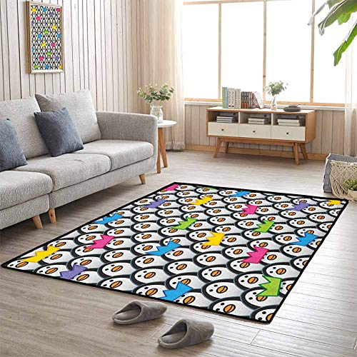 Play Mat Penguins Wearing Colored Party Hats Crowns Rows of Staring Penguins South Pole 5'x8' Chair Mat