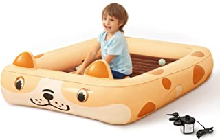 Kids Inflatable Toddler Travel Bed Cartoon Dog, Portable...