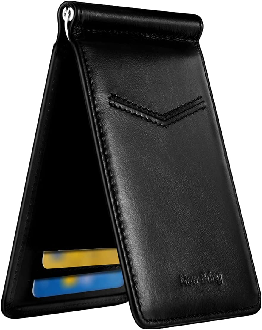 Mens Minimalist Slim Wallets Leather Bifold With ID Window Front Pocket RFID Blocking Credit Card Holder Wallet, Carbon Fiber