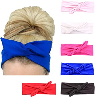 Lolitarcrafts 6 Pack Women's Rabbit Ear Headbands Turban Headwraps Accessories for Sports Running