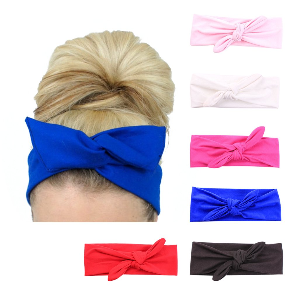 Lolitarcrafts 6 Pack Women's Rabbit Ear Headbands Turban Headwra