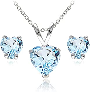 Sterling Silver Genuine, Created, or Simulated Gemstone Heart Solitaire Necklace and Stud Earrings Set