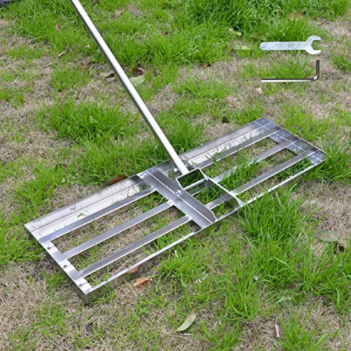SurmountWay Levelawn Tool | Level Soil or Dirt Ground Surfaces Easily Stainless Steel Lawn Level Tool with Handle for Garden Backyard Golf/Lawn(7FT,30 x 10IN)