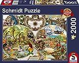 Schmidt Spiele- Puzzle de 2000 Piezas con mapamundi exótico, Color...