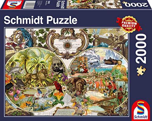 Schmidt Spiele- Puzzle de 2000 Piezas con mapamundi exótico, Color carbón (58362)