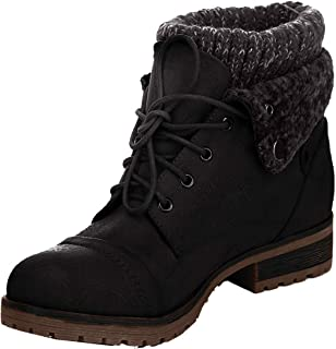 WYNNE-01 Women's Combat Style lace up Ankle Bootie