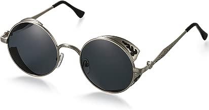 unisex 09020064 y montura de metal-acero fino styleBREAKER gafas de sol con lentes de espejo redondas y planas