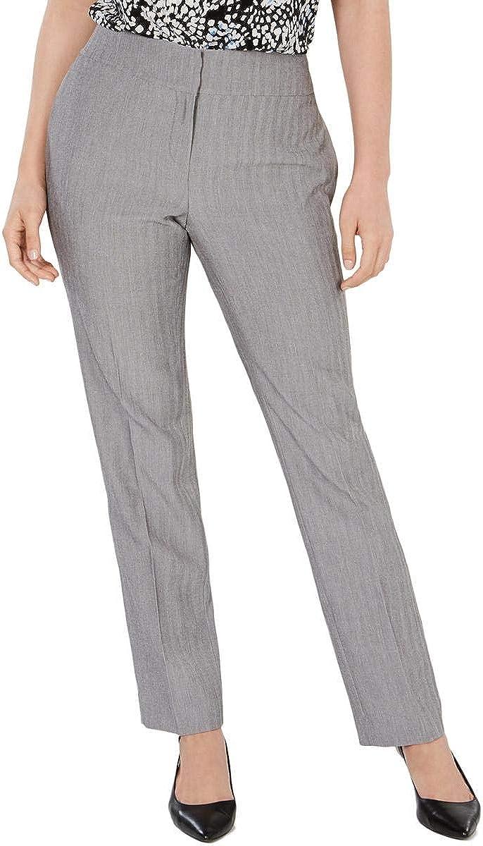 Kasper Womens Gray Heather Straight Leg Wear to Work Pants Size 14
