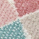 carpet city Teppich Flachflor Inspiration mit Geometrischen Muster, Marokkanischer-Stil mit Pastellfarben, Blau, Rosa, Creme, Beige für Wohnzimmer, Größe: 120x170 cm - 3