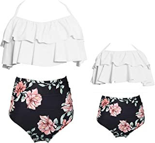 Girls Swimsuits for Women High Waisted Bathing Suit Family Matching Swimsuit Mommy and Daughter Swimwear Bikini Sets