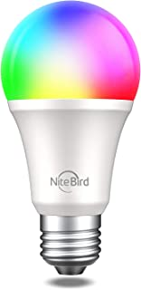 NiteBird LED Light Bulbs Dimmable,Smart LED RGB Color Changing WiFi Bulb,Compatible with Alexa and Google Home Assistant, No Hub Required, A19 E26 Multicolor 1 Pack