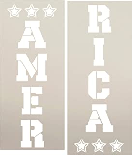 America Tall Porch Stencil with Stars by StudioR12   2 Piece   DIY Large Vertical Patriotic Home Decor for Fourth of July or Memorial Day   Craft & Paint Wood Leaner Signs   Reusable Mylar   Size 4ft