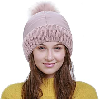 GUGER Women Warm Beanie Hat - Thick Soft Down&Knitted Headwear Hats - Fashion Stretchy Winter Pom Pom Beanies