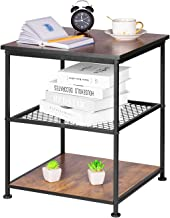 YEAKOO 3-Tier Industrial End Table, Nightstand with Metal Frame &1 Mesh Shelves, Side End Table for Living Room, Bedroom, ...