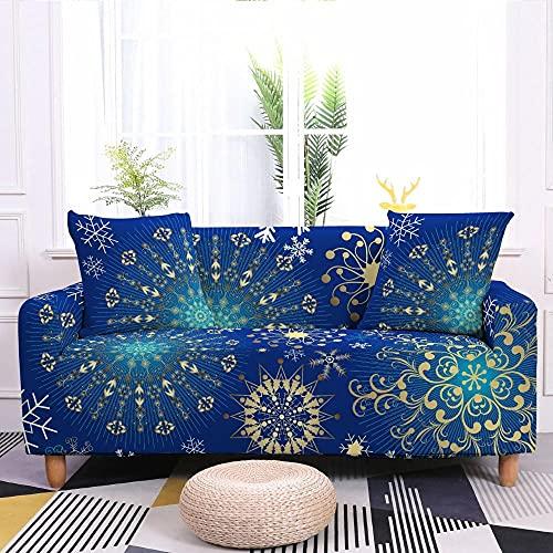 AHKGGM Fundas Sofa Elasticas 1/2/3/4 Plazas Mandala Azul Fundas de Sofa Elasticas Funda Sofá Ajustables 3D Estampada Forro de Sofá Protector Antideslizante Cubiertas de Sofá 2 plazas: 145-185cm