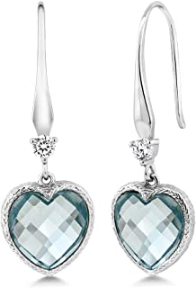 925 Sterling Silver Simulated Aquamarine Women Dangle Earrings (4.60 Cttw, Heart Shape Checkerboard 12MM)