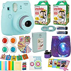 professional Includes Fujifilm Instax Mini 9 Camera + Fuji Instant Instax Film (40 Sheets) Galaxy Camera Bag + Various Frames + Photo Album + 4 Color Filters and Other Best Accessories (Star Ice Blue)