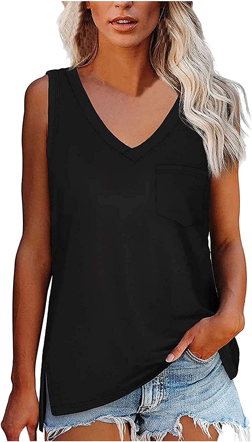 Womens Tank Tops Summer Casual V Neck Sleeveless Solid Color Shirts Button Up Loose Fit T Shirts with Pocket