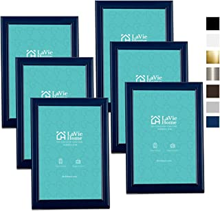 LaVie Home 4x6 Picture Frames (6 Pack, Blue) Simple Designed Photo Frame with High Definition Glass for Wall Mount & Table...