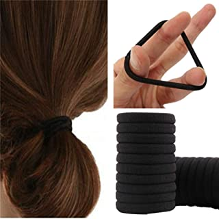 Black Hair Ties No Crease,100pcs Elastic Seamless Rubber Hair Bands Not Damage for Toddlers Girls Kids Thick Hair Ponytail...
