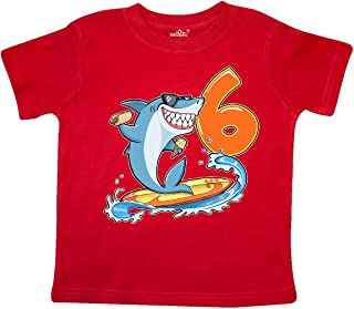 inktastic 1st Birthday Surfing Shark with Hot Dog and Ice Cream Baby T-Shirt