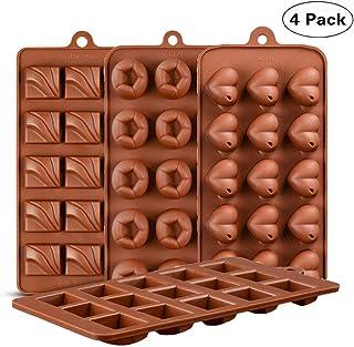 KBstore 4 Pack Moldes de Bombones de Silicona - Forma de Corazon Plaza Molde de Silicone