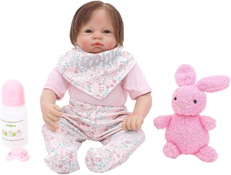 Fenteer Otarddolls 21inch Realistic Full Silicone Vinyl Body Doll Reborn Infant Doll Newborn American Baby Dolls with Nursing Accessories