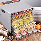 CHEFJOY 10-Tray Electric Food Dehydrator Stainless Steel /w Blower Jerky Fruit Vegetable Preserve Dryer