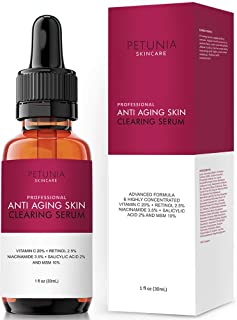 Anti-Aging Skin Clearing Vitamin C Plus Serum | Active 2.5% Retinol, Vit C 20%, MSM, Salicylic Acid | Acne Treatment And Collagen Booster For Fine Lines, Wrinkles, Dark Spots, Acne | 1 fl. oz.