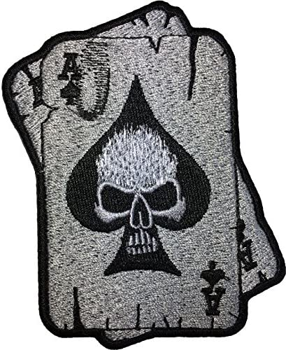 Papapatch A Spades Card Skull Ghost Dead Head Tattoo Motorcycle Bike Jeans Vest Jacket Costume product image