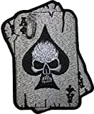 Papapatch A Spades Card Skull Ghost Dead Head Tattoo Motorcycle Bike Jeans Vest Jacket Costume DIY Applique Embroidered Sew on Iron on Patch (IRON-A-CARD-SKULL)