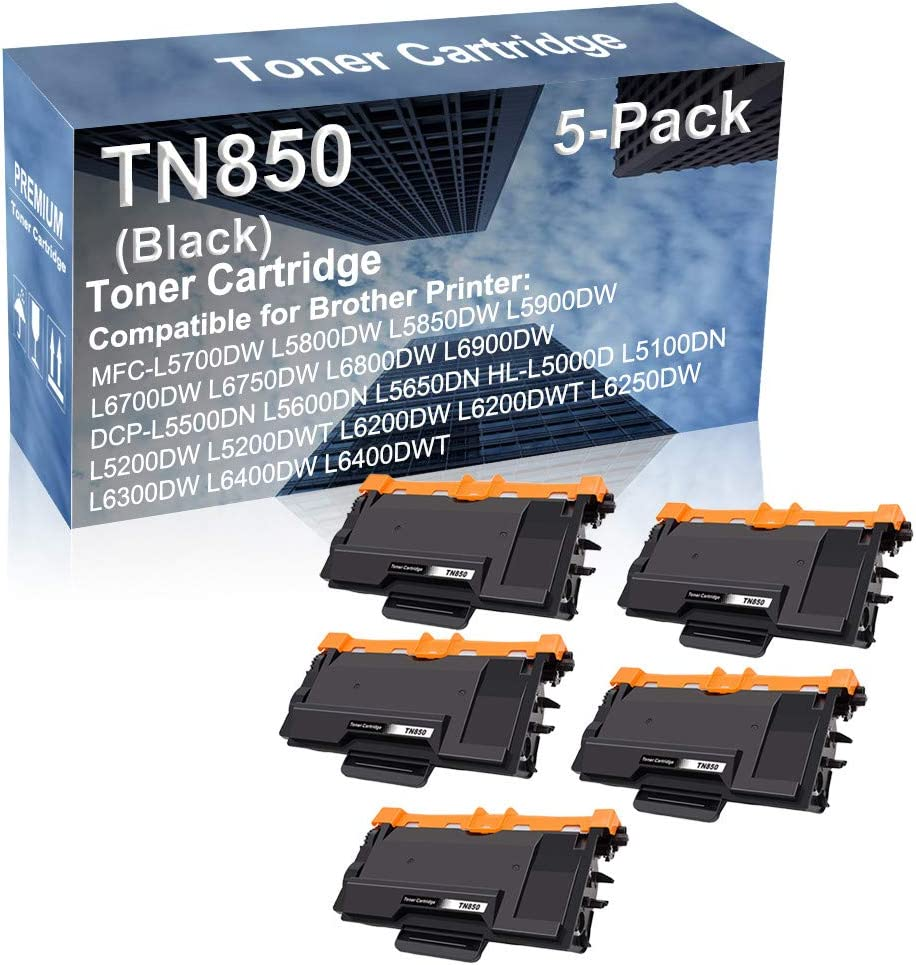 5-Pack Compatible High Capacity HL-L5200DWT L6200DW L6200DWT L6250DW L6300DW L6400DW L6400DWT Printer Toner Cartridge Replacement for Brother TN850 Printer Cartridge (Black)