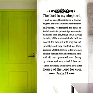 YttBuy Bible Verse Decal The Lord is My Shepherd Psalm 23 Vinyl Wall Art Religious Home Decor Scripture Quote Wall Decal Bible Quotes