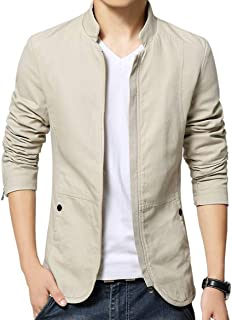 FUNFOAS Mens Autumn Casual Bomber Jacket Coat Cotton Outerwear