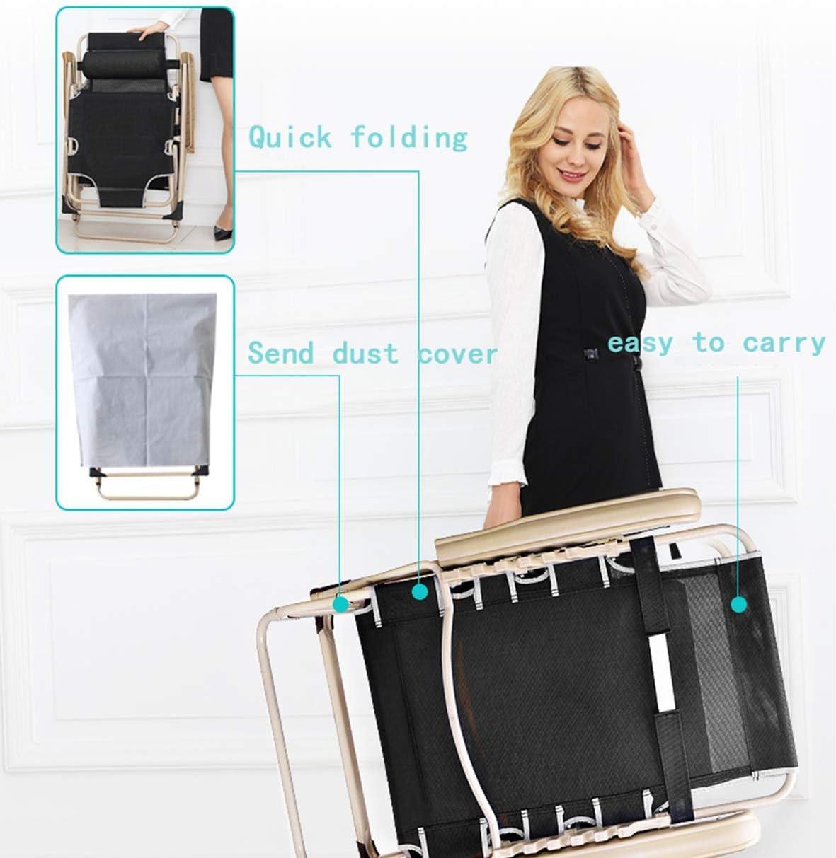 LCK Home Lit Simple Chaise Pliante Simple Chaise Pause Déjeuner,Noir Bleu