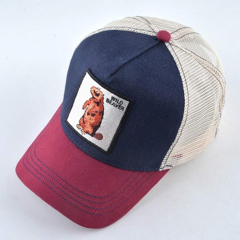 AAMOUSE Cute Embroidery Beaver patternbaseball Cap Women's Cotton caps Hip Hop Cap Men Breathable Mesh Bone dad Hat