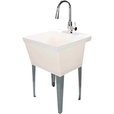 Js Jackson Supplies White Utility Sink Laundry Tub With High Arc Chrome Kitchen Faucet Pull Down Sprayer Spout Heavy Duty Slop Sinks For Basement Garage Or Shop Free Standing Wash Station
