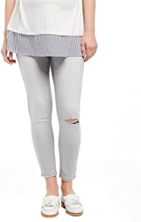 4338ef7bbe4e6 Belly Envy Skinny Leg Gray Petite/Crop Ripped Distressed Maternity Denim  Jeans
