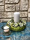 Tidschdeko Tischdekoration Nr.40 Tischgesteck elegant, Gesteck mit Kerze und Kranz apfelgrün Sommer moderne Tischdeko Sommerdeko