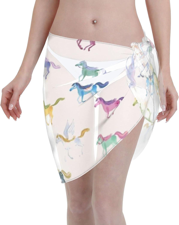 2053 pants Magic Horses Women Chiffon Beach Cover ups Beach Swimsuit Wrap Skirt wrap Bathing Suits for Women