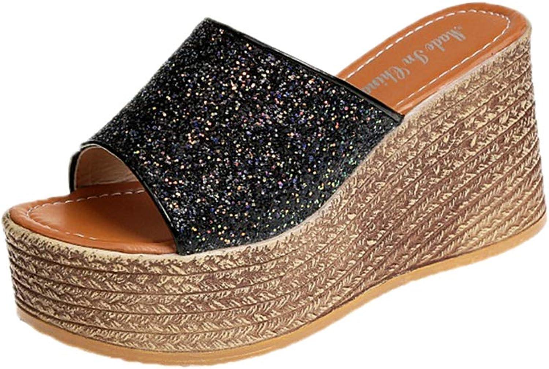 T-JULY Summer Women Slippers Platform Wedges Slipper Sequined Cloth Slides Sandals