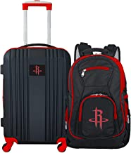 """Denco Houston Rockets 2-Piece Luggage Set, Includes 21-inch Two-Tone Hardcase Spinner and 19"""" Laptop Backpack"""
