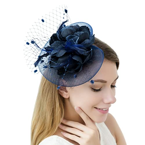 a8c7eda2 JaosWish Tulle Feather Fascinator Headband Net Flower Hairclip for Cocktail  Party Royal Ascot Wedding Hat