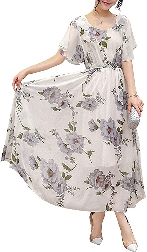 Women's Vintage Round Neck Floral Printed Casual Swing Floral Chiffon Maxi Dress