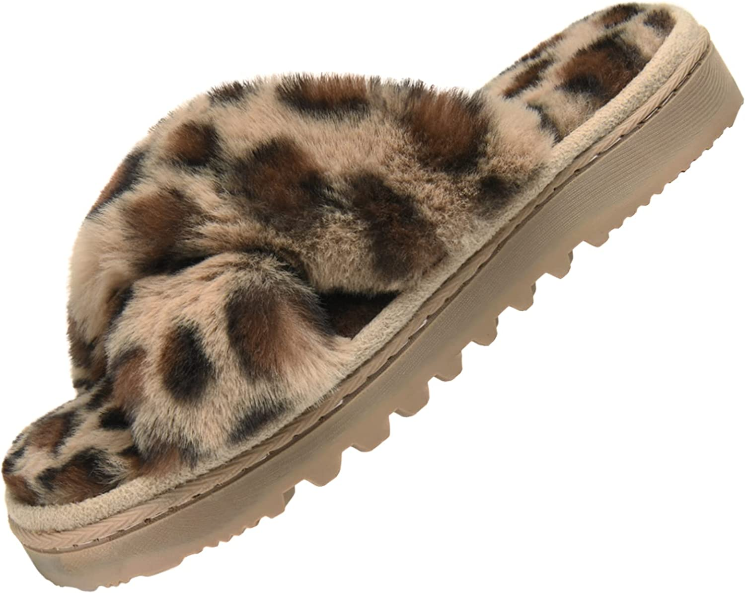 Telifor Max 85% OFF Womens-Fluffy-Memory-Foam-Cross-Band-Slippers Outlet SALE Indoor Fu
